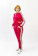 Стильный женский велюровый спортивный костюм с лампасами розового цвета батальные размеры