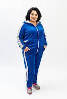 Стильный женский велюровый спортивный костюм с лампасами цвета электрик батальные размеры