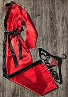 Элегантный красный атласный халат . Модная одежда для дома.
