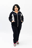 Стильный женский велюровый спортивный костюм черного цвета батальные размеры от производителя