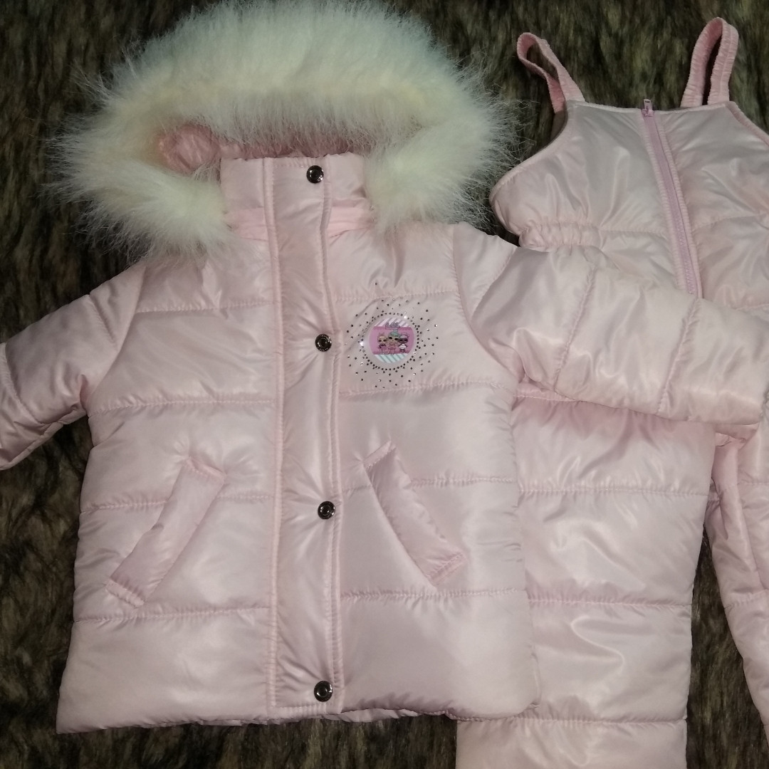 Костюм зимний куртка и полукомбинезон и шапка в комплекте 1 год 74-80 см.