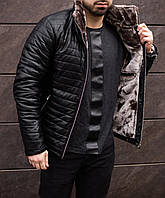 ЛЮКС! Куртка кожаная мужская зимняя на меху Sup до -25*С | куртка мужская зимняя