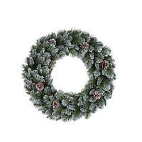 Венок ø 0,45 см. декоративный Empress зеленый с инеем и шишками Triumph Edelman