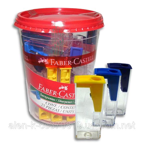 Точилка для олівців кольорова з контейнером 125LV Faber-Castell