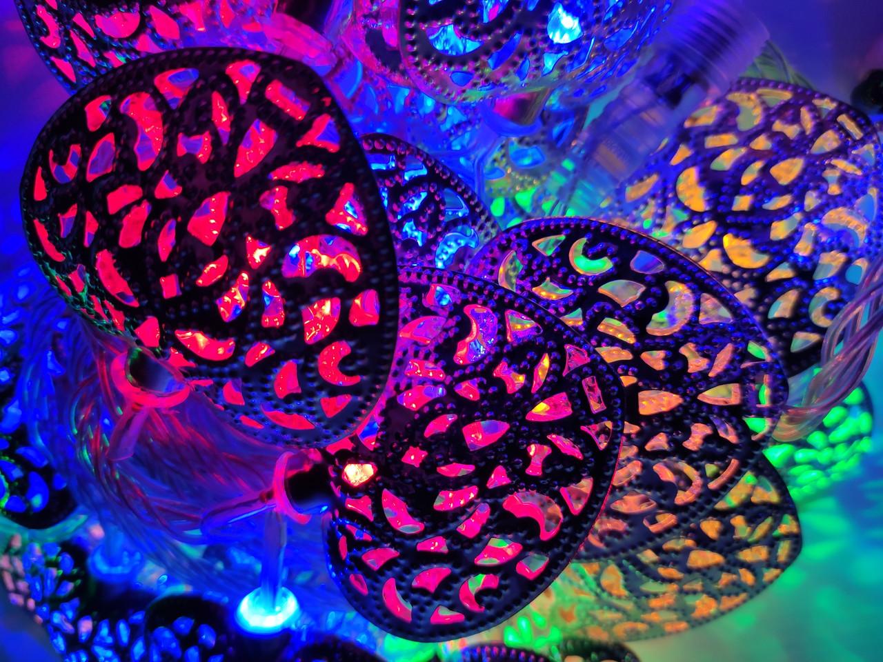 Светодиодная гирлянда сердечки 2 метра на батарейках многоцветный