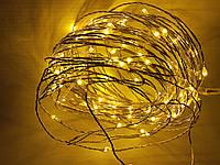 Светодиодная гирлянда нить 10 метров 12 вольт жёлтая, фото 1