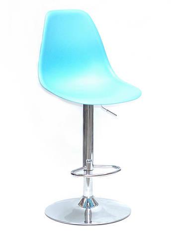 Стул из пластика барный поворотный на одной ножке   Nik Bar CH-Base Onder Mebli, цвет голубой 52, фото 2