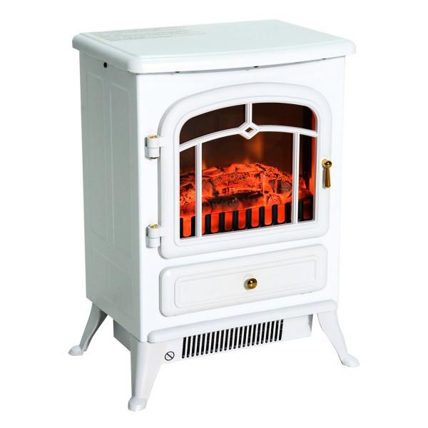 Электрокамин Сountry White c огнеупорным стеклом и регулировкой эффекта огня