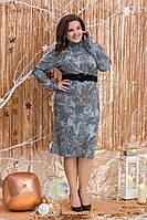 Батальне тепле плаття  з поясом.Р-ри 48-54, фото 1