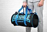 Сумка для спорта Lonsdale London. Для тренировок. Черная с голубым, фото 2