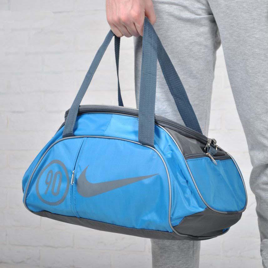 Сумка найк, Nike для спорта, фитнеса с плечевым ремнем. Голубая с серым