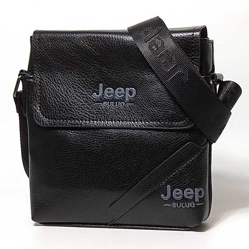 Чоловіча сумка через плече Jeep. Чорна. 21см х 19см / Шкіра PU. 556 black