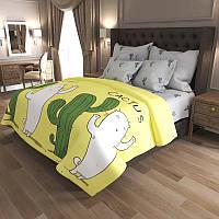 Комплект постельного белья Наша Швейка Бязь Кот и кактус Полуторный 150 х 215 см