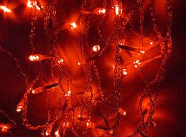 Новогодняя гирлянда нить 10 метров красная IP44 ECOLEND