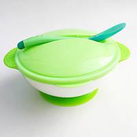 Детский набор посуды на присоске зеленый (тарелка, ложка. крышка) Bambi