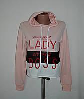 """Укороченный свитшот с капюшоном и принтом """"Lady""""- пудра - ОПТОМ !, фото 1"""