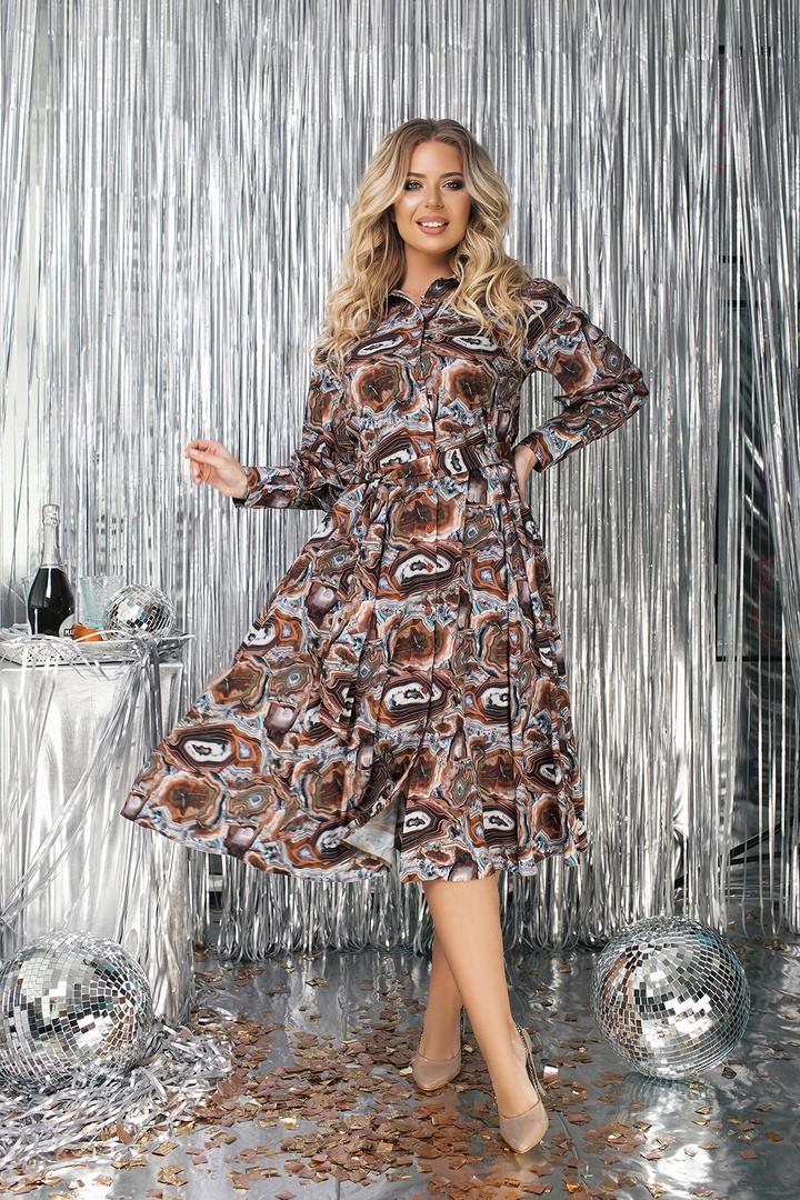 """Приталенное шелковое платье-рубашка """"Dorita"""" с расклешенной юбкой (большие размеры)"""