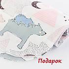 Плед и подушка с северными мишками и треугольниками розового цвета, фото 6