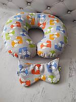 """Дорожна подушка """" Лисички"""" +маска для сну в подарунок"""
