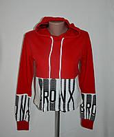 """Укороченный свитшот с капюшоном и принтом """"Bronx""""- красный - 44 размер, фото 1"""