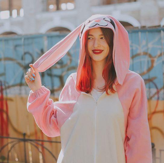 Пижама флисовая комбинезон кигуруми Розовый Зайчик рост 150-170