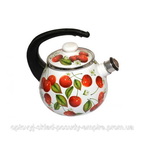 Чайник с крышкой со свистком 2,5л эмалированный Черешня 2711 Epos Новомосковск