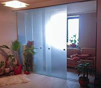 19 Перегородка из матового стекла с раздвижной системой - Стеклянные независимые раздвижные двери