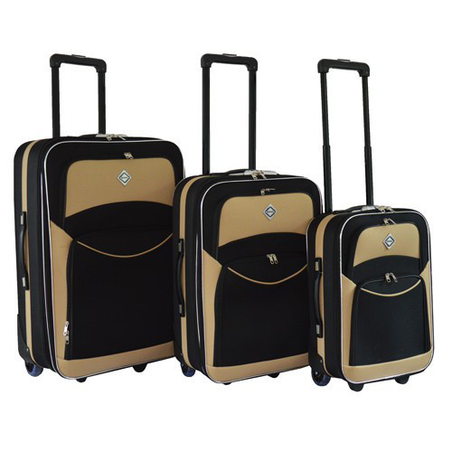 Набор чемоданов на колесах Bonro Best Черно-кремовый 3 штуки