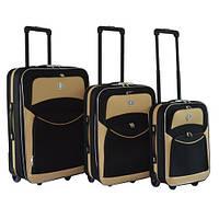 Набор чемоданов на колесах Bonro Best Черно-кремовый 3 штуки, фото 1