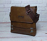 Мужская сумка через плечо Jeep. Коричневая. 21см х 19см / Кожа PU. 554 brown, фото 3