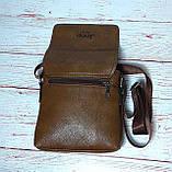 Мужская сумка через плечо Jeep. Коричневая. 21см х 19см / Кожа PU. 554 brown, фото 7