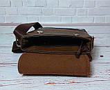 Мужская сумка через плечо Jeep. Коричневая. 21см х 19см / Кожа PU. 554 brown, фото 8