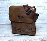 Чоловіча сумка через плече Jeep. Коричнева. 21см х 19см / Шкіра PU. 557 brown, фото 3