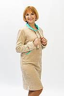 Женское велюровое спортивное платье худи бежевого цвета от производителя