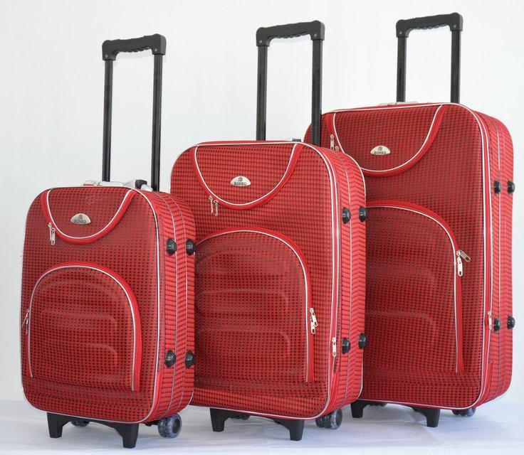 Набор чемоданов на колесах Bonro Lux Красный-клетка 3 штуки