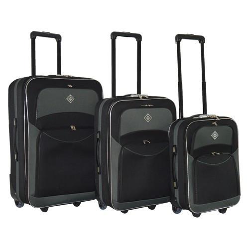 Набор чемоданов на колесах Bonro Best Черно-серый 3 штуки