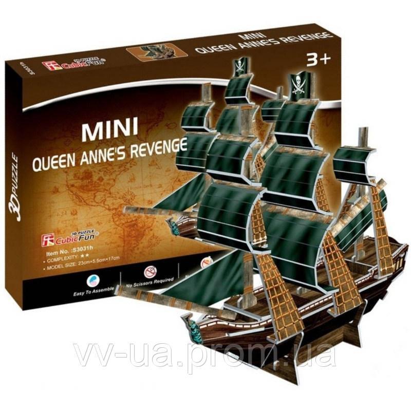 3D пазл CubicFun Mini Корабль Месть королевы Анны (S3031h)