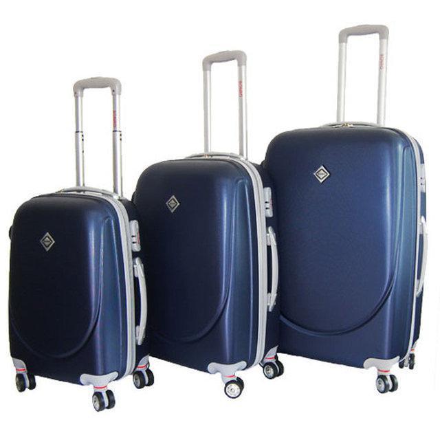 Набор чемоданов на колесах Bonro Smile с двойными колесами Темно-синий 3 штуки