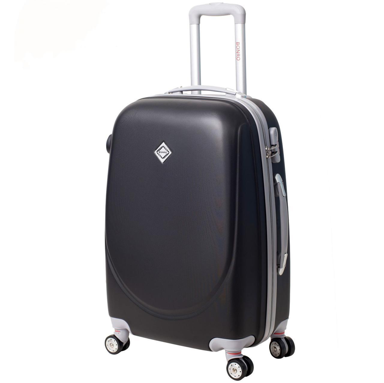 Дорожный чемодан на колесах Bonro Smile с двойными колесами Черный Средний