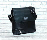 Мужская сумка через плечо Jeep. Черная. 25x23х5 Кожа PU / 559-2 black, фото 3