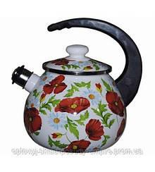 Чайник  с крышкой со свистком 2,5л эмалированный Маки, Маковое Поле 2711 Epos Новомосковск