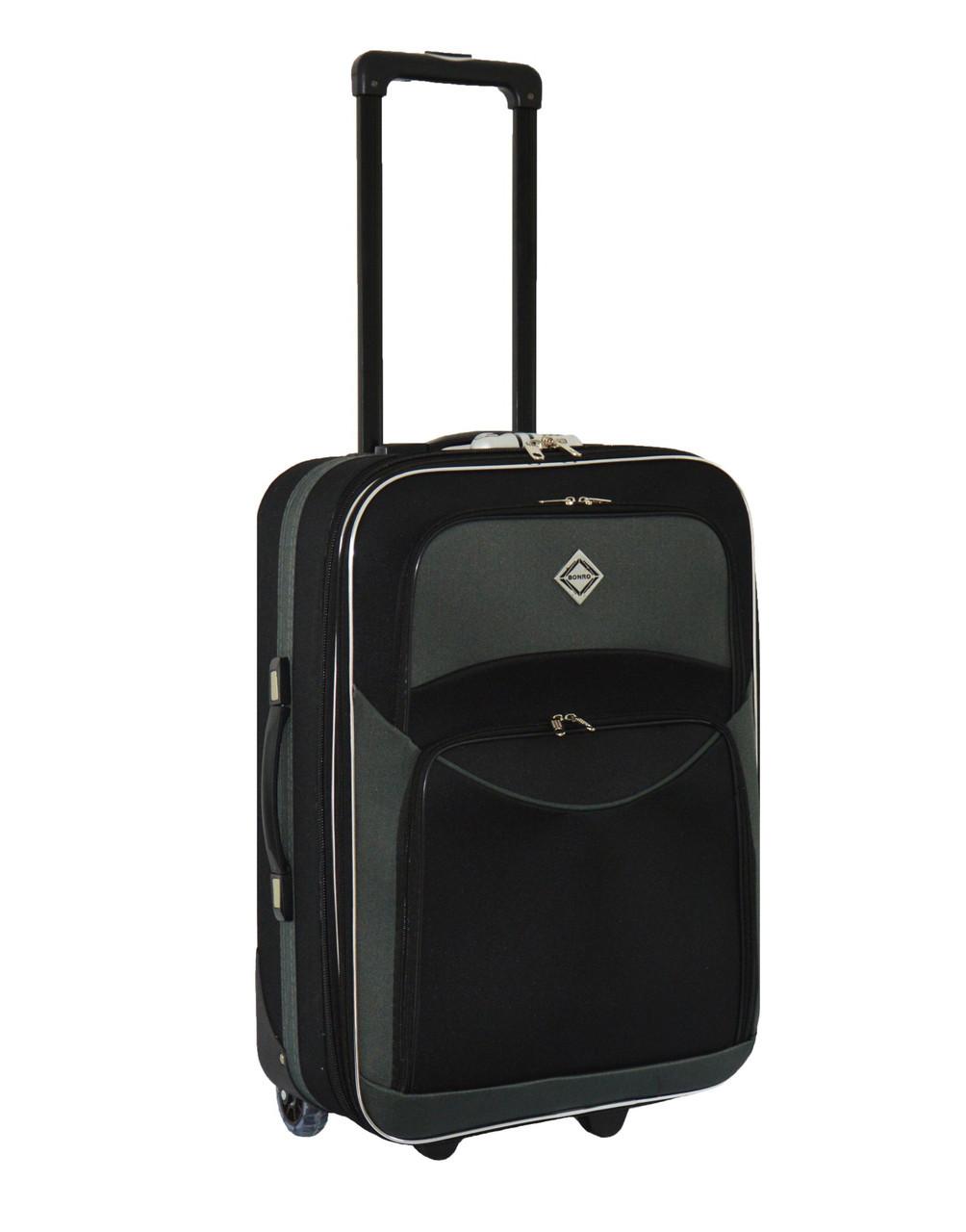 Дорожный чемодан на колесах Bonro Best Черно-серый Небольшой