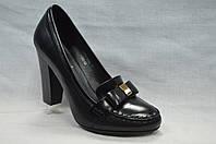 Черные нарядные кожаные туфли Еrisses на каблуке . Маленькие размеры.