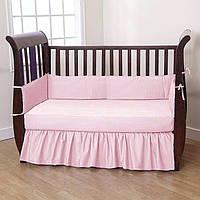 Комплект элитного постельного белья с бортиками в кроватку для новорожденных розовый