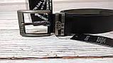 Стильный мужской ремень, пояс из натуральной кожи Gucci, гучи. Черный + Коробочка / RG 821, фото 4