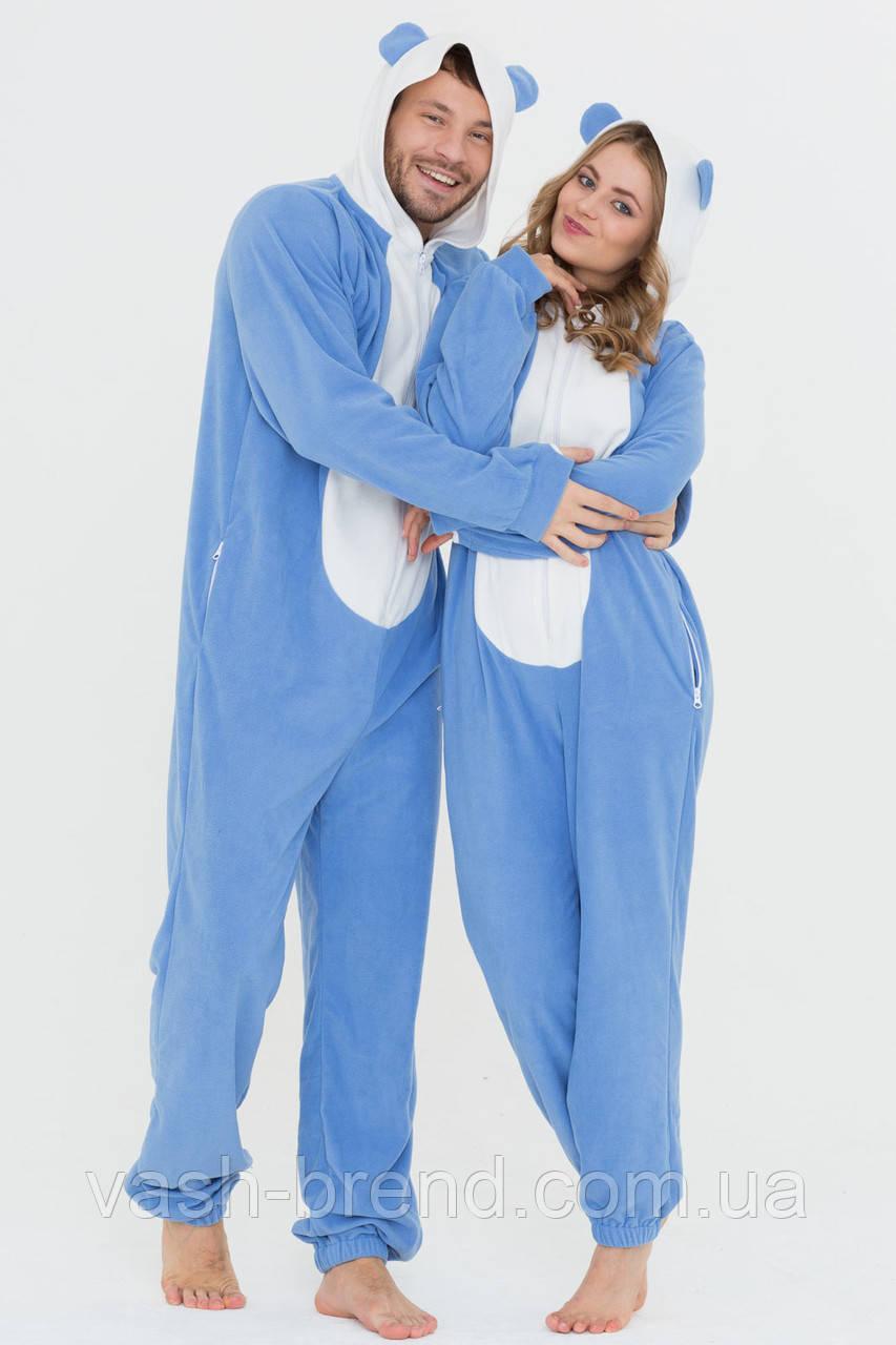 Пижама кигуруми синяя с ушками для детей и взрослых