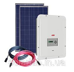 Комплект для Сетевой системы на Солнечных Батареях, 3,1 кВт, 220В, ABB  + Amerisolar