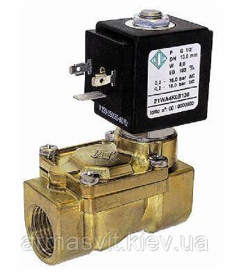 Электромагнитные клапаны для воды, воздуха 21WA4ZOB130, G 1/2'. Нормально открытый.