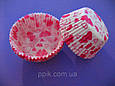 Тарталетки (капсулы) бумажные для кексов, капкейков Розовые Сердечки, фото 2