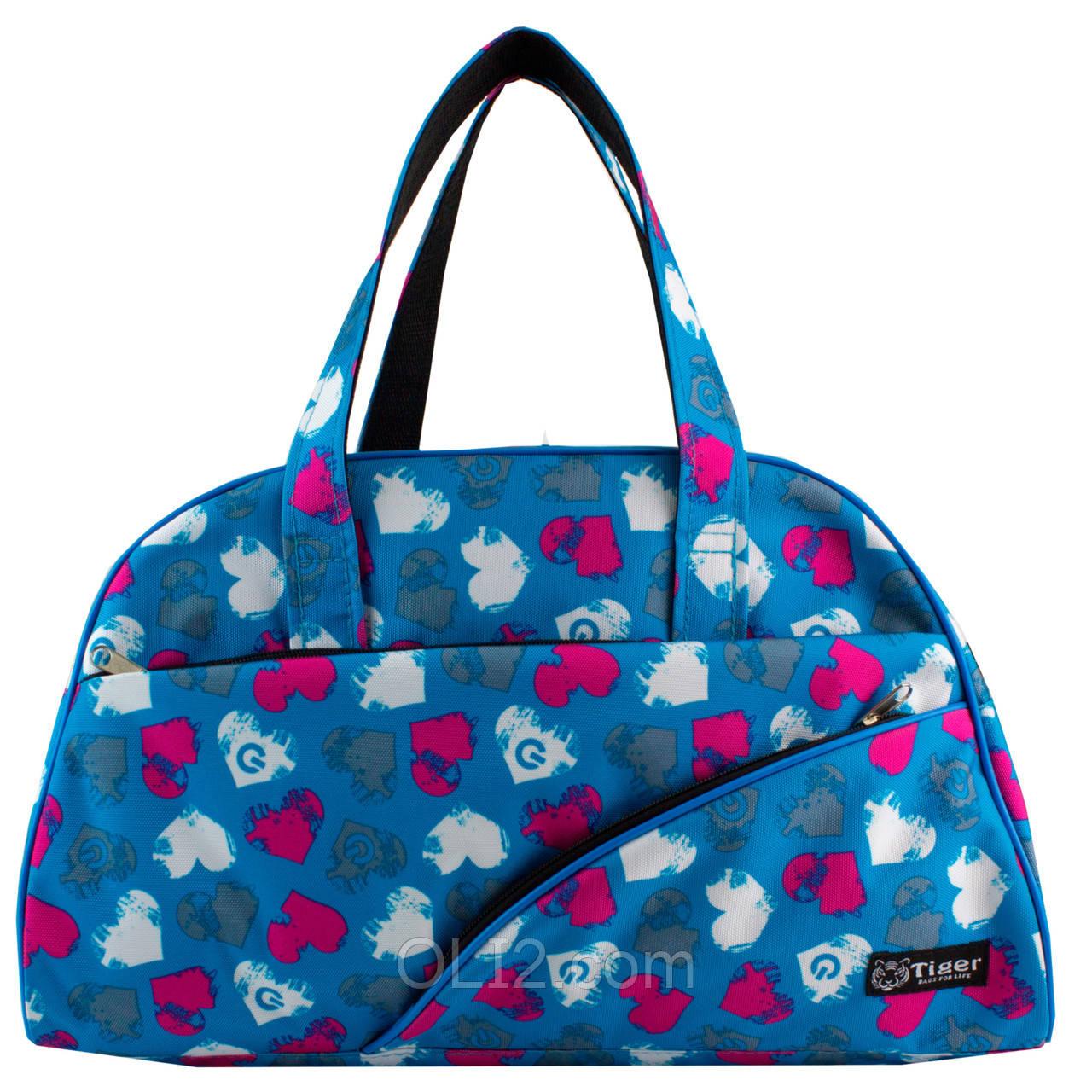 Сумки фитнес Tiger спортивная сумка  сердечки голубые